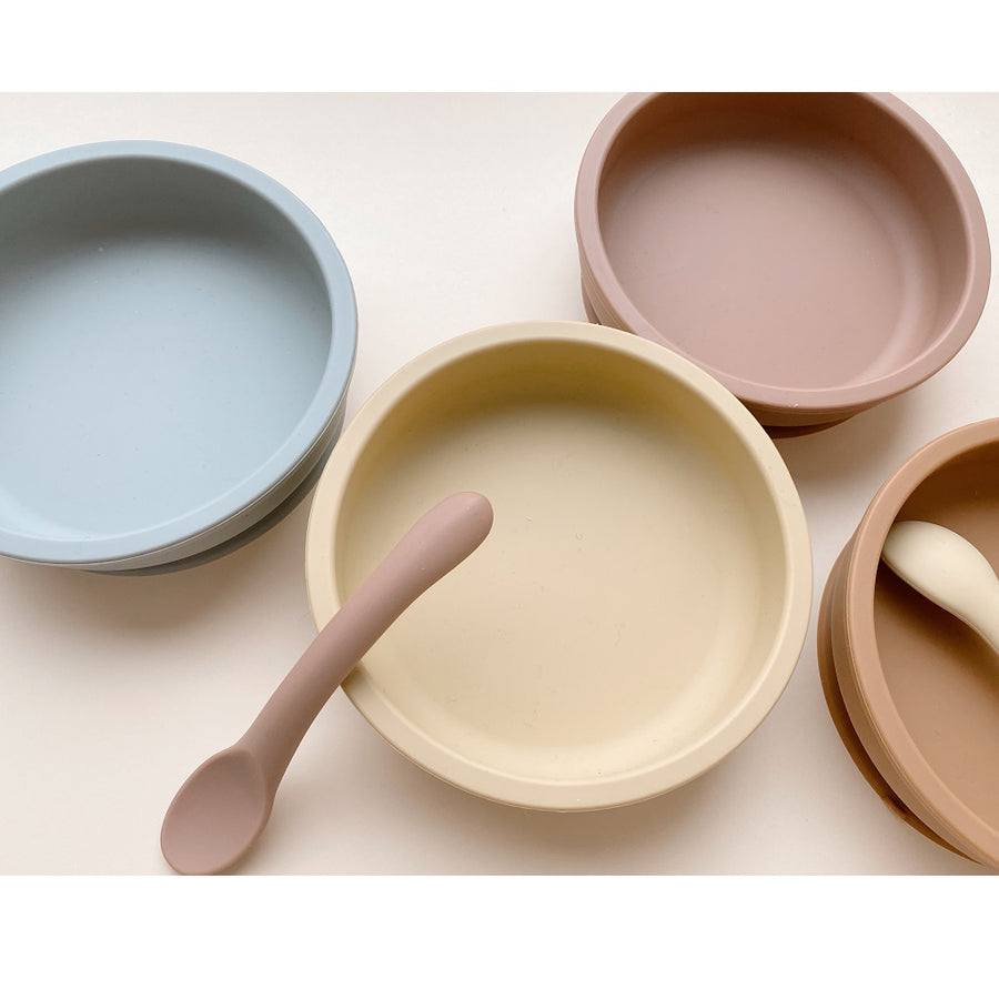 Bowl & Spoon Silicone Set Rose by Konges Slojd - minifili
