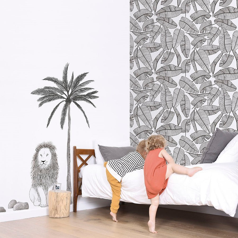 Lion and Palm Tree Giant Wall Sticker by Lilipinso - minifili