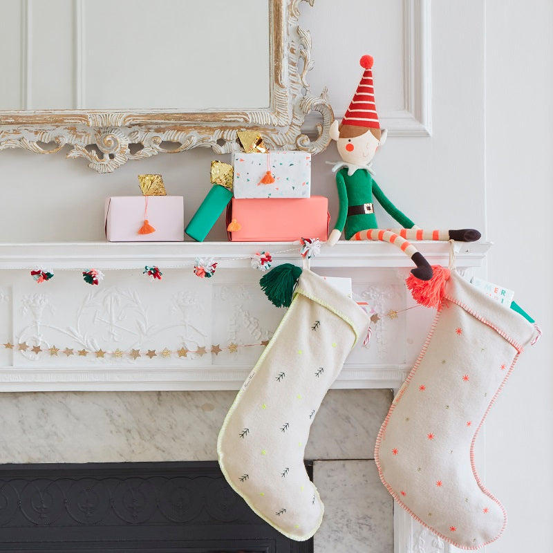 Embroidered Stars Felt Stocking by Meri Meri - minifili