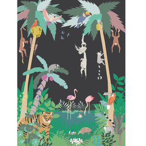 Jungle Wall Panel Dark Grey by Mimi'lou - minifili