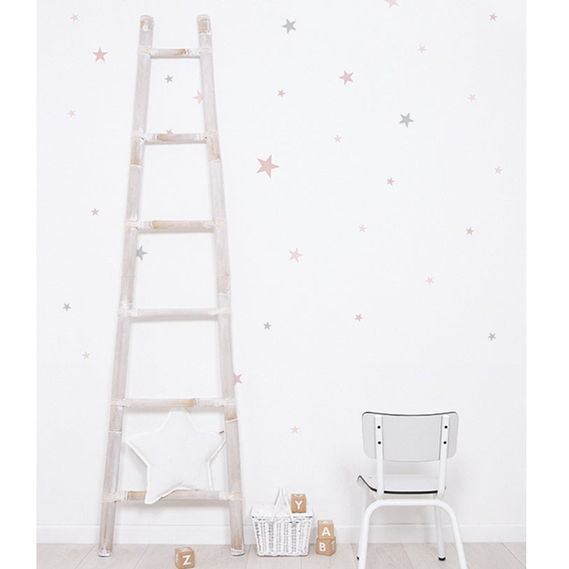 Pink Grey Stars Wall Sticker by Lilipinso - minifili