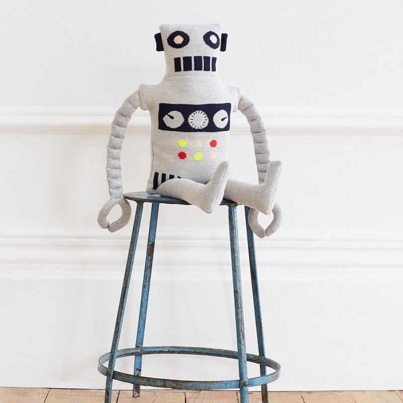 Knitted Robot Soft Toy Cushion by Meri Meri - minifili