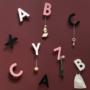 Alphabet Soup Wall Hooks ABC Black by Rock&Pebble - minifili