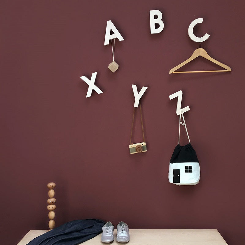 Alphabet Soup Wall Hooks XYZ Natural by Rock&Pebble - minifili