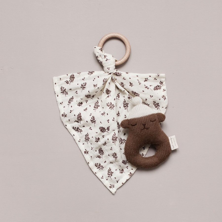Muslin Cloth with Teething Ring Meadow by Main Sauvage - minifili