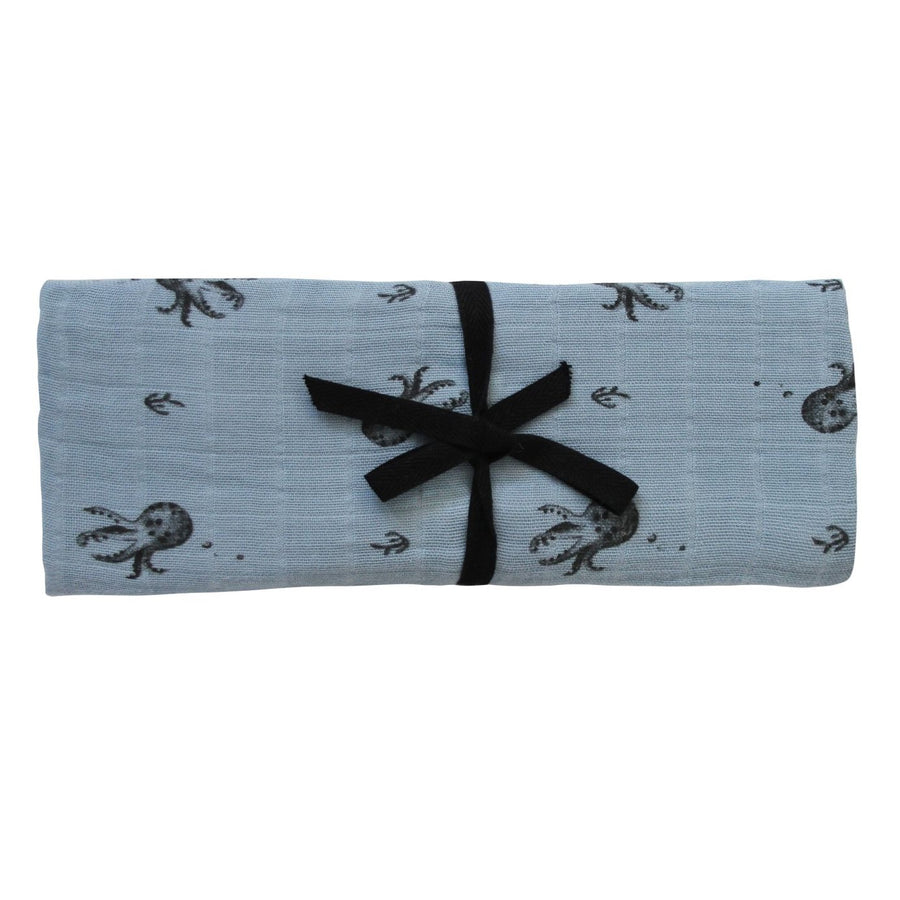 Octopus Swaddle Blue Grey by Rose in April - minifili