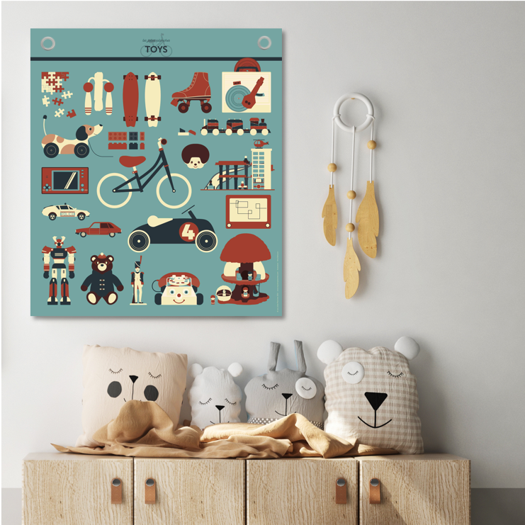 Vintage Toys Canvas Poster by Les Jolies Planches - minifili