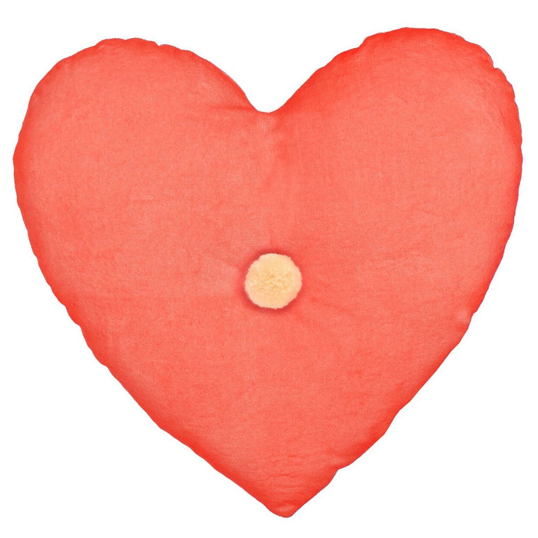 Velvet Heart Cushion Coral Pink