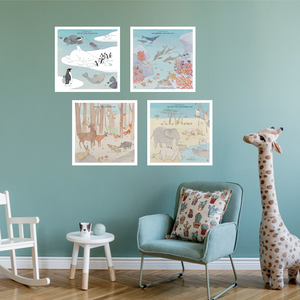 Wild Animals Set of 4 Canvas Posters by Les Jolies Planches - minifili