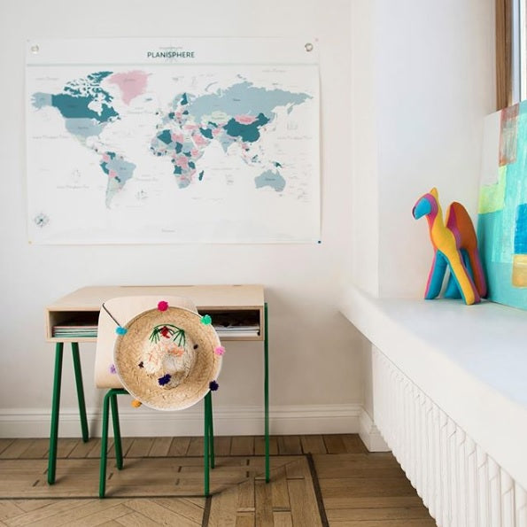 World Map Canvas Poster by Les Jolies Planches - minifili