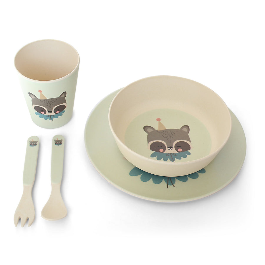 Bamboo Dinner Set Circus Raccoon by Eef Lillemor - minifili