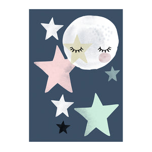 Star Fall Moon Blue Print by Rory & The Bean - minifili