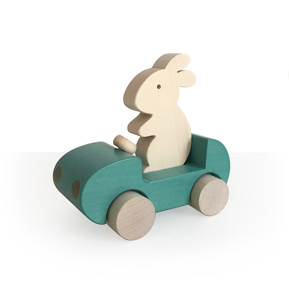 Briki Vroom Vroom - Bunny Car Push Toy Green