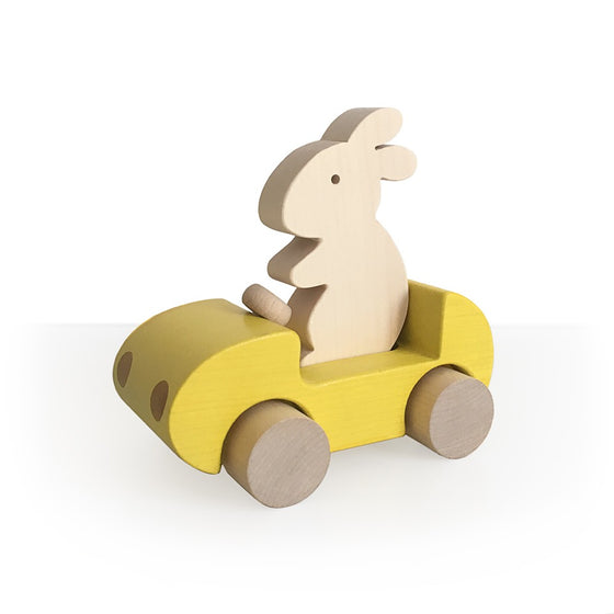 Bunny Car Push Toy Yellow