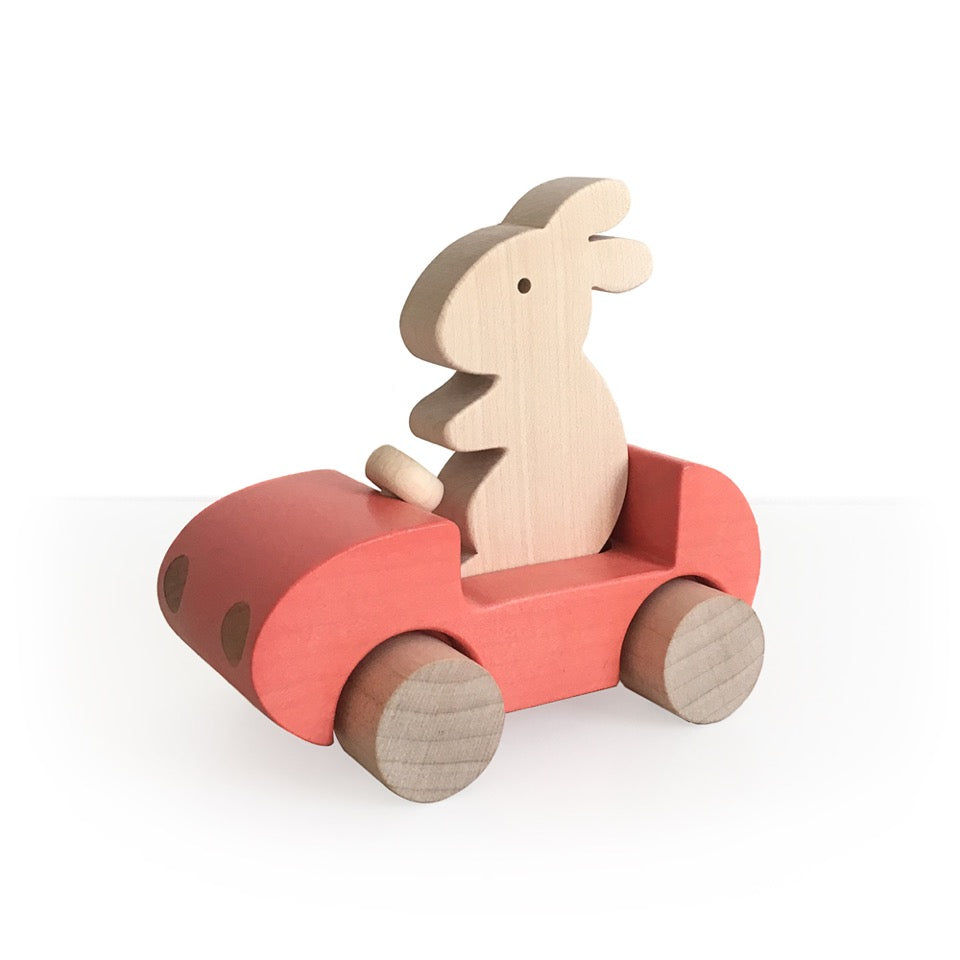 Briki Vroom Vroom - Bunny Car Push Toy Red