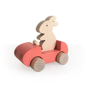 Bunny Car Push Toy Coral by Briki Vroom Vroom - minifili
