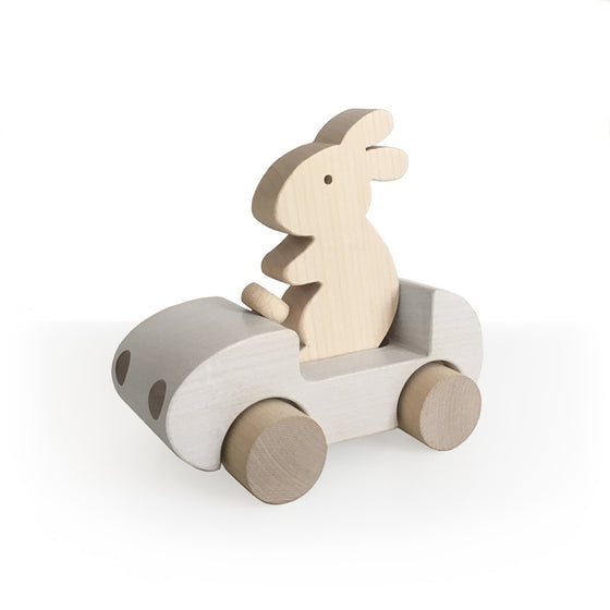 Bunny Car Push Toy White
