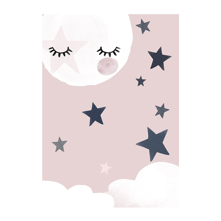 Pink Moon Asleep Print