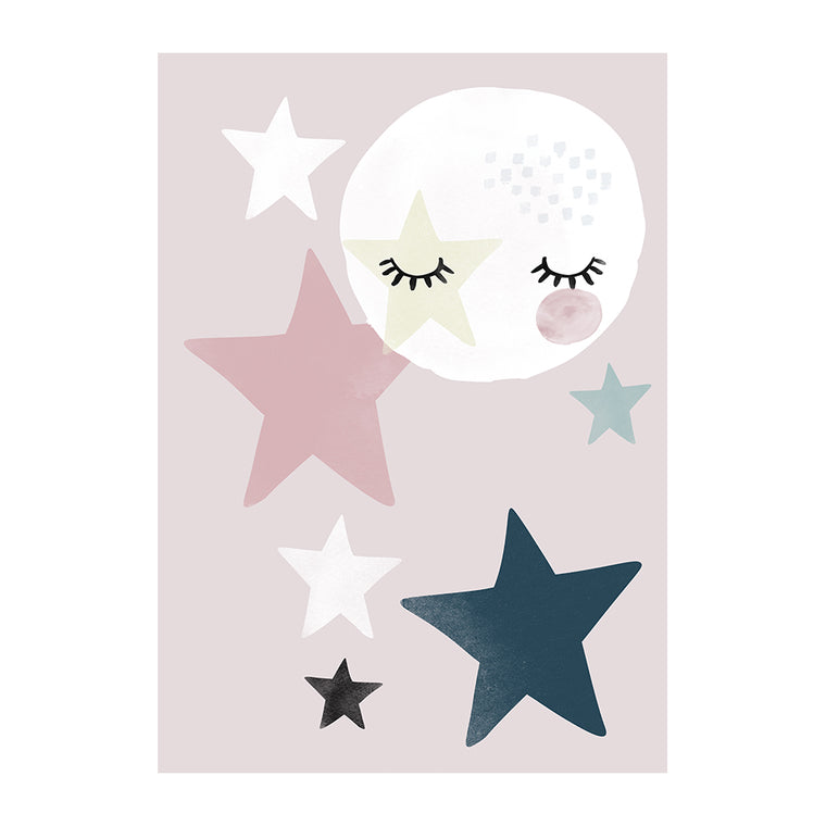 Star Fall Moon Pink Print