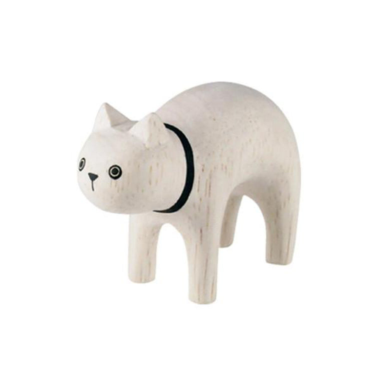 Pole Pole Wooden Animal White Cat