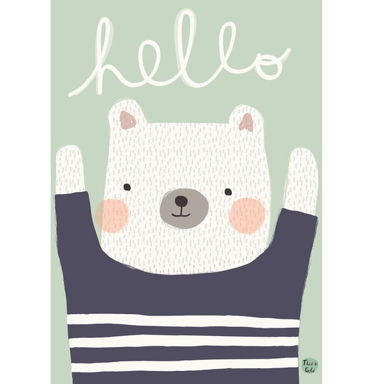 Hello Polar Bear Poster