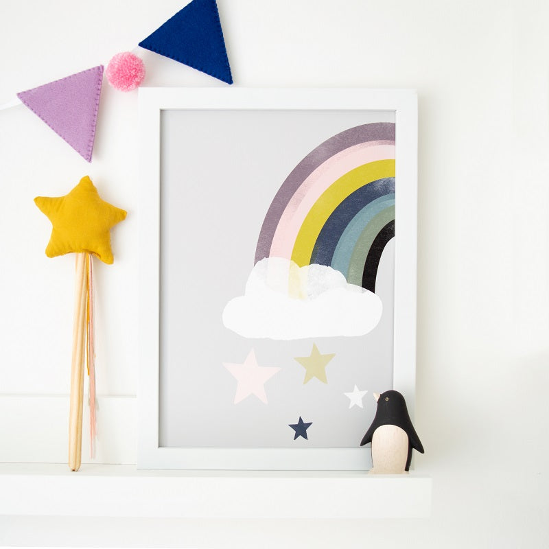 Rainbow Star Fall Print by Rory and the Bean - minifili