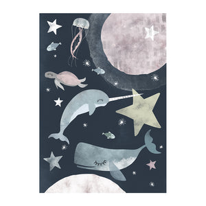 Sea Creatures in Space Print by Rory and the Bean - minifili