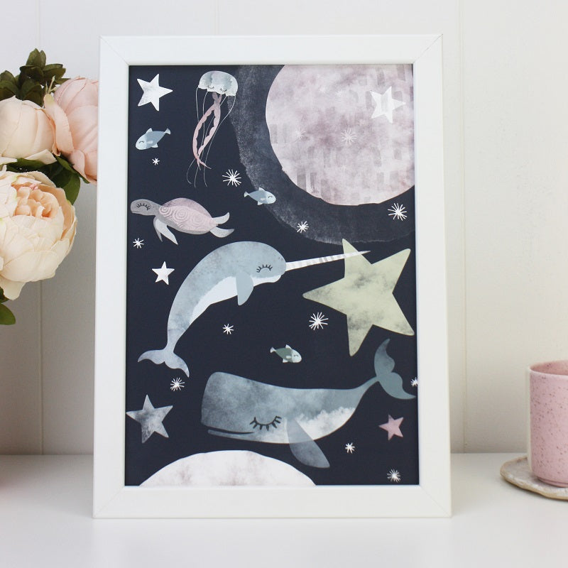 Rory & The Bean - Sea Creatures in Space Print