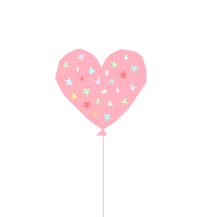 Starry Balloon Pastel Print