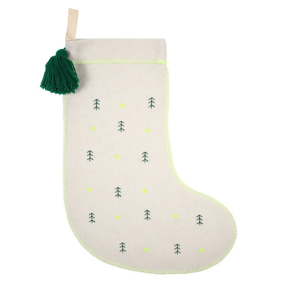 Embroidered Trees Felt Stocking