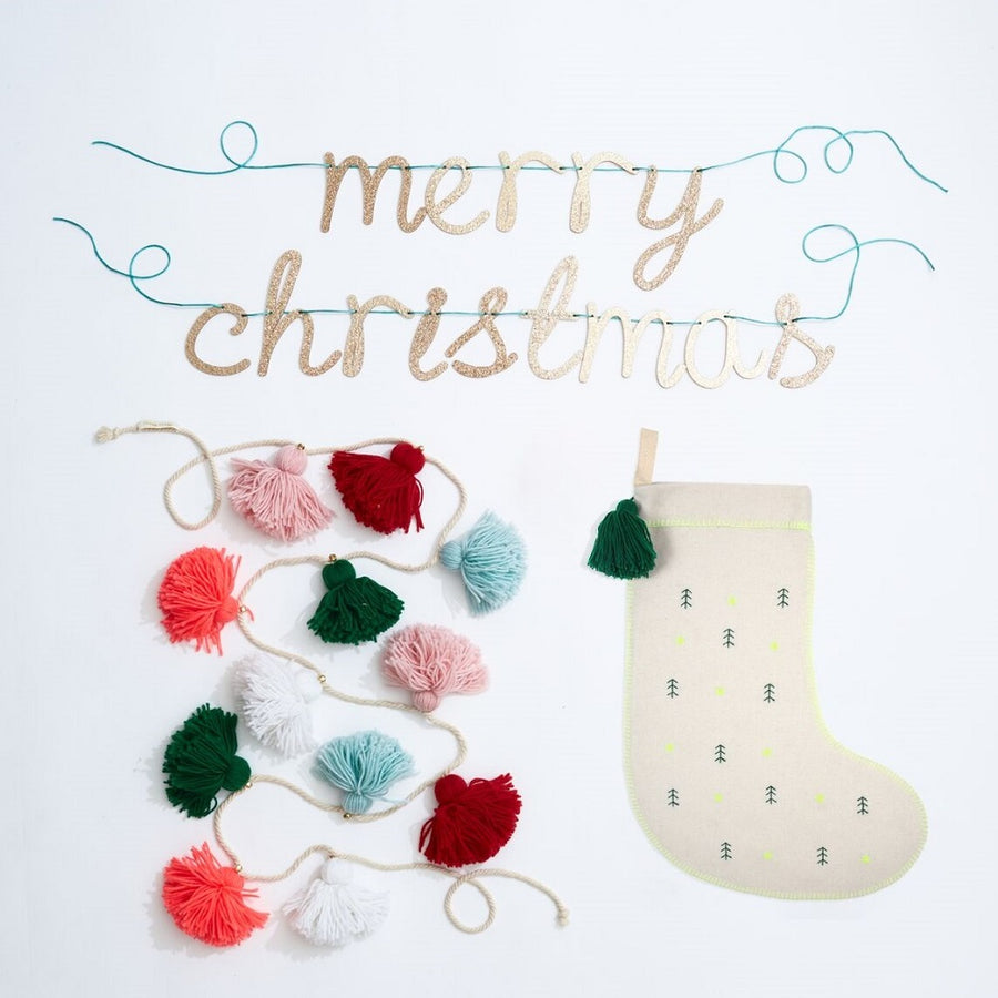 Embroidered Trees Felt Stocking by Meri Meri - minifili