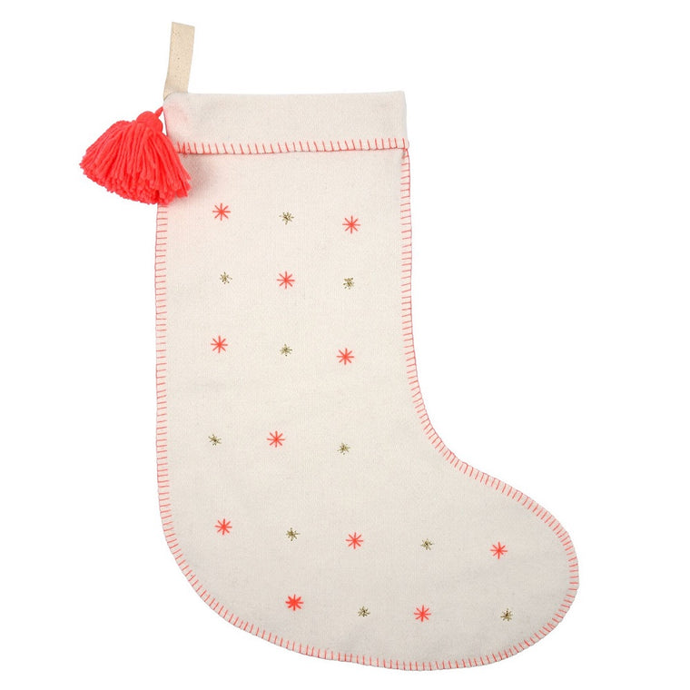 Embroidered Stars Felt Stocking