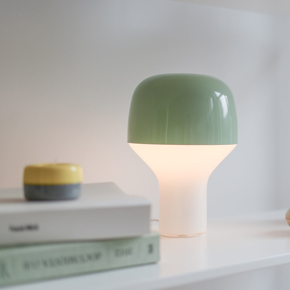 Cap Table Lamp Mouth Blown Glass and