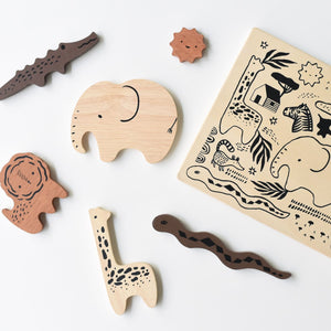 Wooden Tray Puzzle - Safari Animals by Wee Gallery - minifili