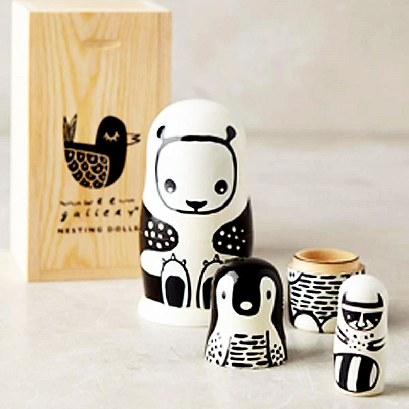 Wee Gallery - Black and White Animals Nesting Dolls