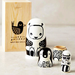 Black and White Animals Nesting Dolls by Wee Gallery - minifili