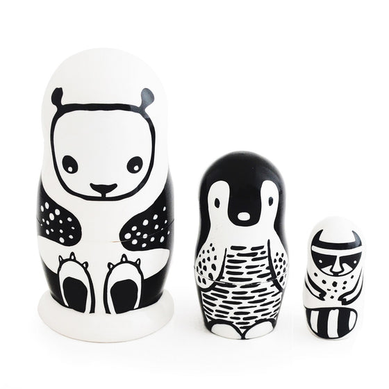 Black and White Animals Nesting Dolls