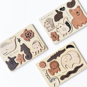 Wooden Tray Puzzle - Woodland Animals by Wee Gallery - minifili
