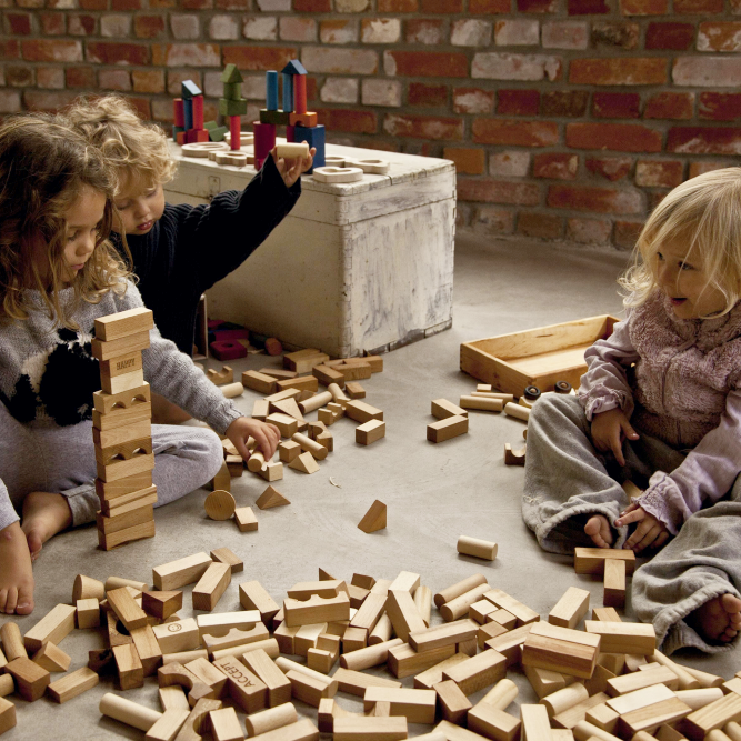 Natural Wooden Blocks in Tray by Wooden Story - minifili