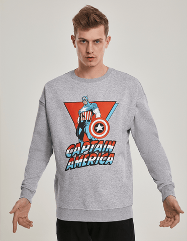 Active Hoodie Captain America Crewneck Sweat Shirt Grey