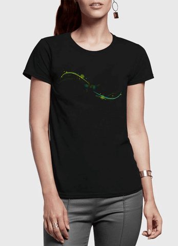 Aneeq Arshad T-shirt SMALL / Black Abstract Simple Half Sleeves Women T-shirt