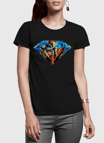 Aneeq Arshad T-shirt SMALL / Black Abstract Super Logo Half Sleeves Women T-shirt