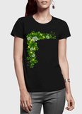 Aneeq Arshad T-shirt SMALL / Black Floral Gold Half Sleeves Women T-shirt