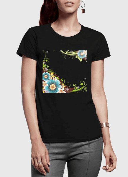 Aneeq Arshad T-shirt SMALL / Black Flowers Vector Half Sleeves Women T-shirt