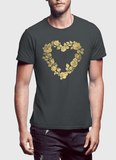 Aneeq Arshad T-shirt SMALL / Charcoal Flower Heart Half Sleeves T-shirt