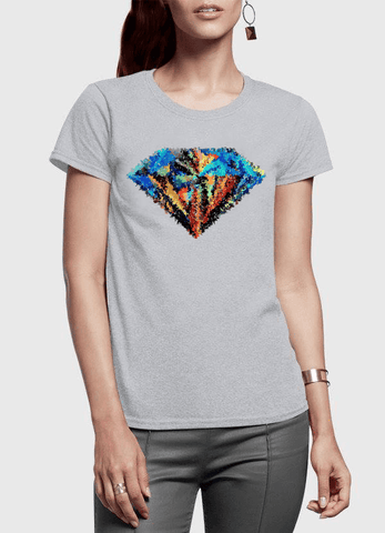Aneeq Arshad T-shirt SMALL / Gray Abstract Super Logo Half Sleeves Women T-shirt