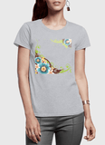 Aneeq Arshad T-shirt SMALL / Gray Flowers Vector Half Sleeves Women T-shirt