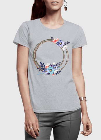 Aneeq Arshad T-shirt SMALL / Gray Ring Floral Half Sleeves Women T-shirt