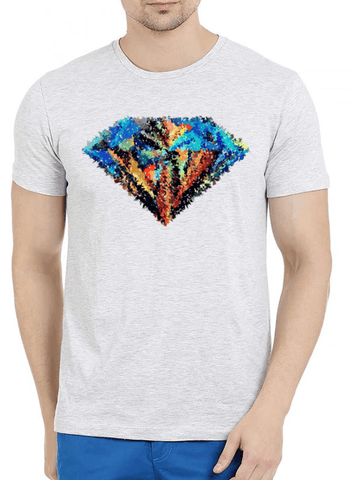 Aneeq Arshad T-shirt SMALL / Offwhite Abstract Super Logo Half Sleeves Melange T-shirt