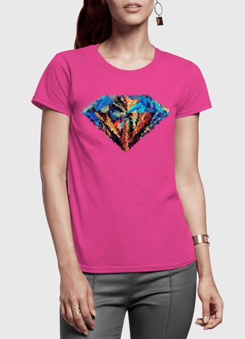 Aneeq Arshad T-shirt SMALL / Pink Abstract Super Logo Half Sleeves Women T-shirt
